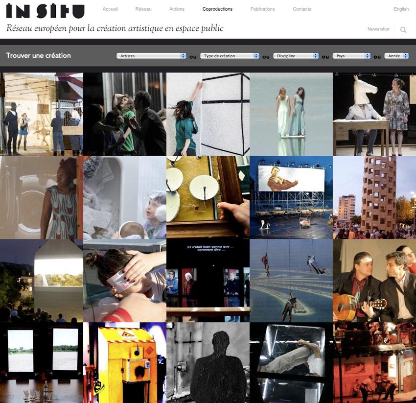 vue de la page des créations sur le site IN SITU