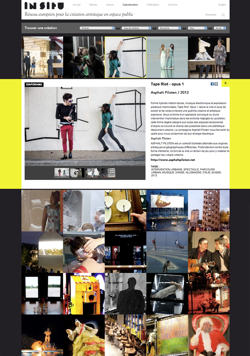 vue de la page des créations sur le site IN SITU avec fiche et diaporama