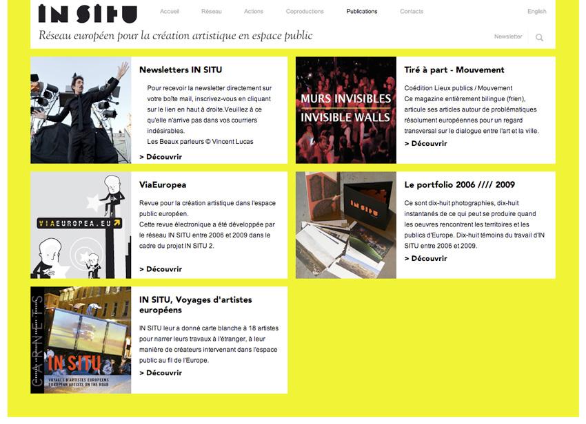 capture écran de la page des publication sur le site In SITU réseau européen qui oeuvre au service de la création artistique dans l'espace public