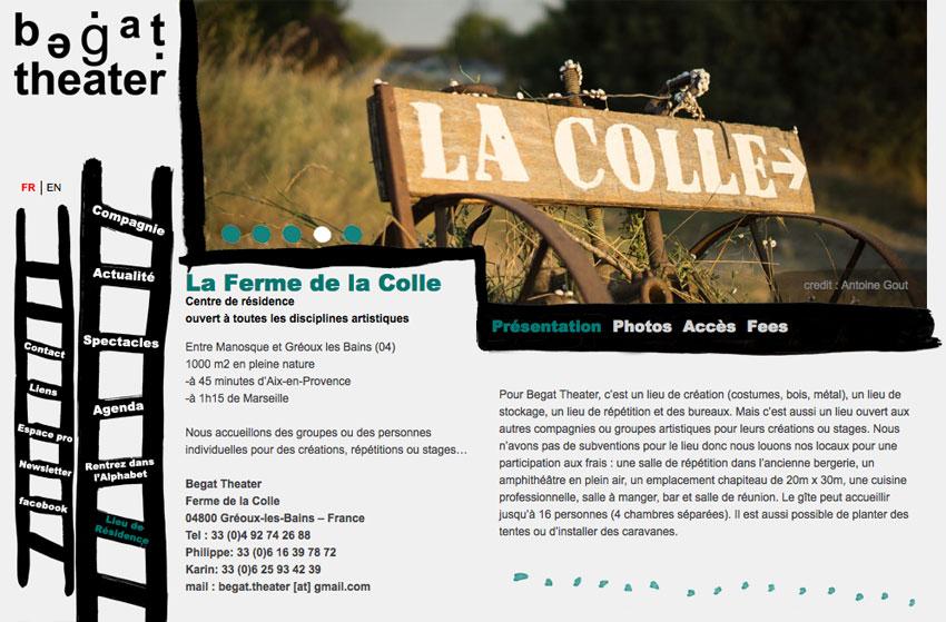 Page de présentation du lieu de résidence de La compagnie de théâtre de rue Begat theater, La ferme de la Colle à Gréoux-les-Bains