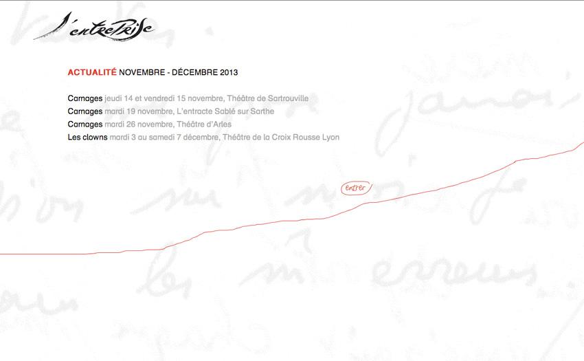 page d'accueil du site de la compagnie l'entreprise, auteur et metteur en scène François Cervantes - Marseille - friche belle de Mai
