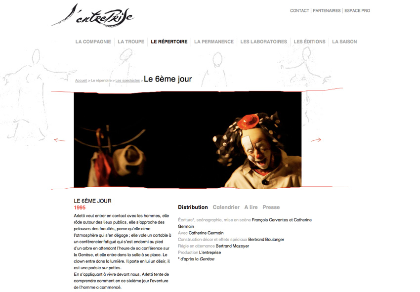 fiche spectacle sur le site de l'entreprise de la compagnie l'entreprise -  François Cervantes