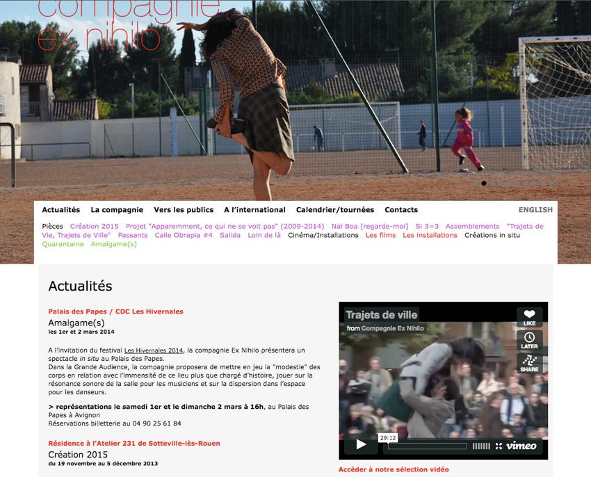 page d'accueil du site de la compagnie de danse Ex Nihilo - Marseille
