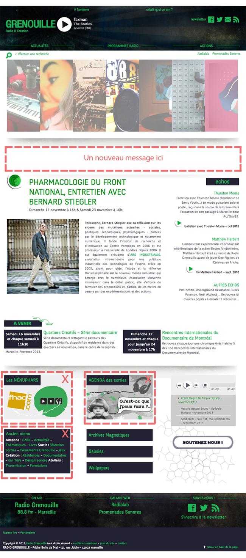 capture d'écran de la page d'accueil du site de radio grenouille