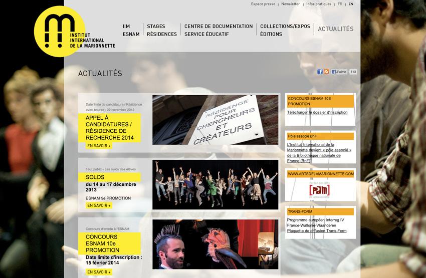 capture d'écran de la page d'accueil de L'Institut International de la Marionnette (IIM) centre de formation, de création et de recherche