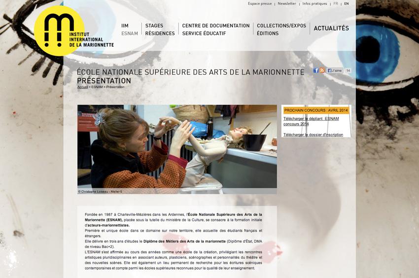 Page de présentation de l'Institut International de la Marionnette est un centre de formation, de création et de recherche à Charleville-Mézières, France
