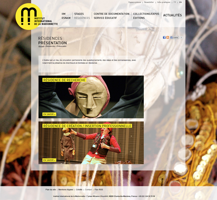 Page de présentation des résidence à l'Institut International de la Marionnette est un centre de formation, de création et de recherche à Charleville-Mézières, France