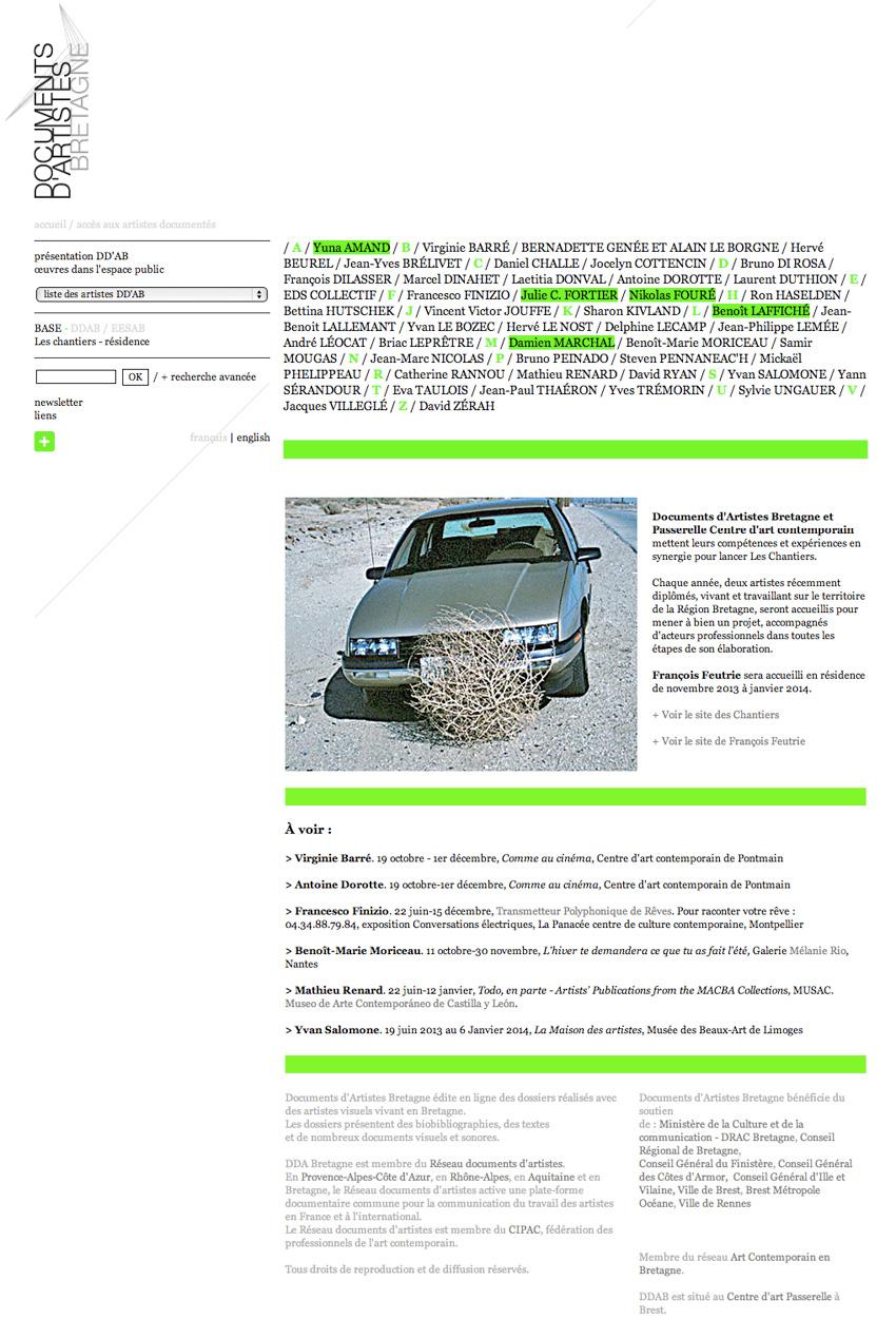 Vue de la page d'accueil du site de Documents d'Artistes Bretagne