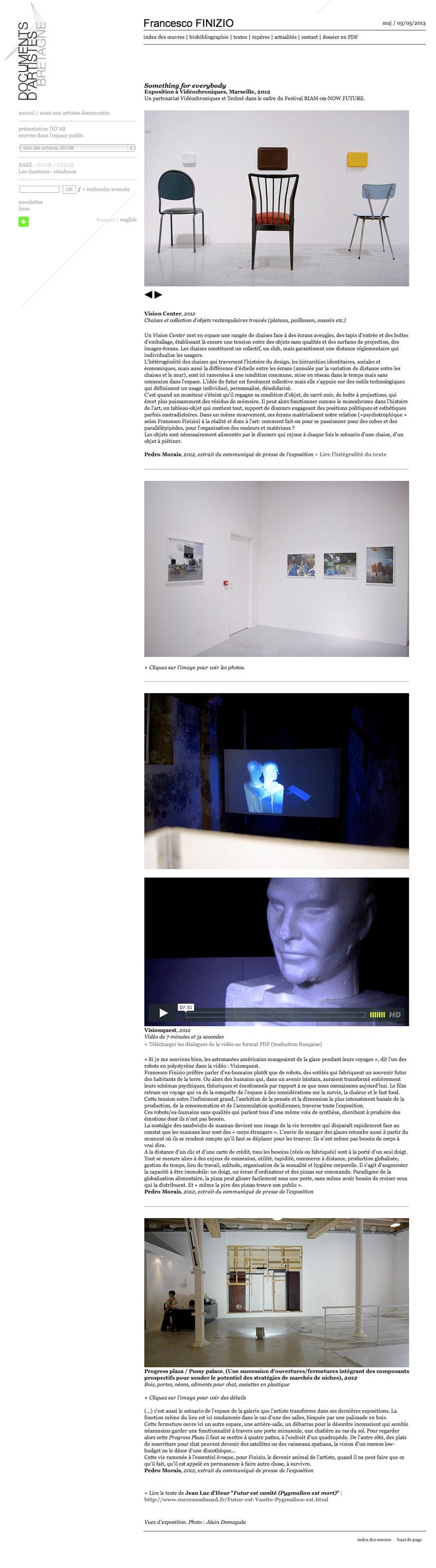 capture écran d'une fiche oeuvre  sur le site de Documents d'Artistes Bretagne DDAB de l'artiste Francesco FINIZIO sur l'exposition à Exposition à Vidéochroniques, Marseille, 2012