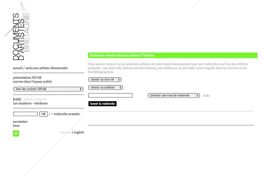 capture écran du moteur de recherche du site de Documents d'Artistes Bretagne DDAB