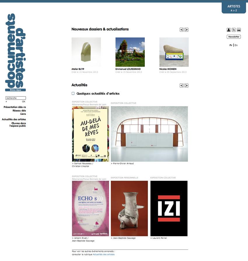 Vue de la page d'accueil du site de Documents d'Artistes Rhône-Alpes