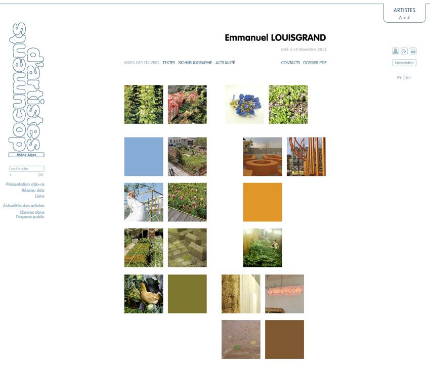 capture écran de la page index des oeuvres de l'artiste  Francesco FINIZIO  sur le site de Documents d'Artistes Rhône-Alpes dda-ra
