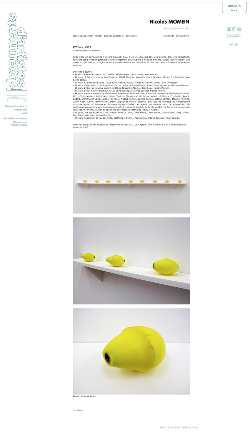 capture écran de la fiche oeuvre, Efficace, 2013 de Nicolas Momein  sur le site de Documents d'Artistes Rhône-Alpes dda-ra,