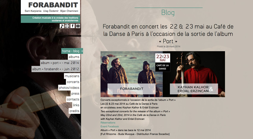 Page principale  du site groupe forabandit