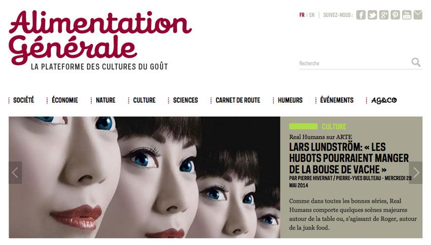 diaporama de la page d'accueil du web magazine alimentation générale