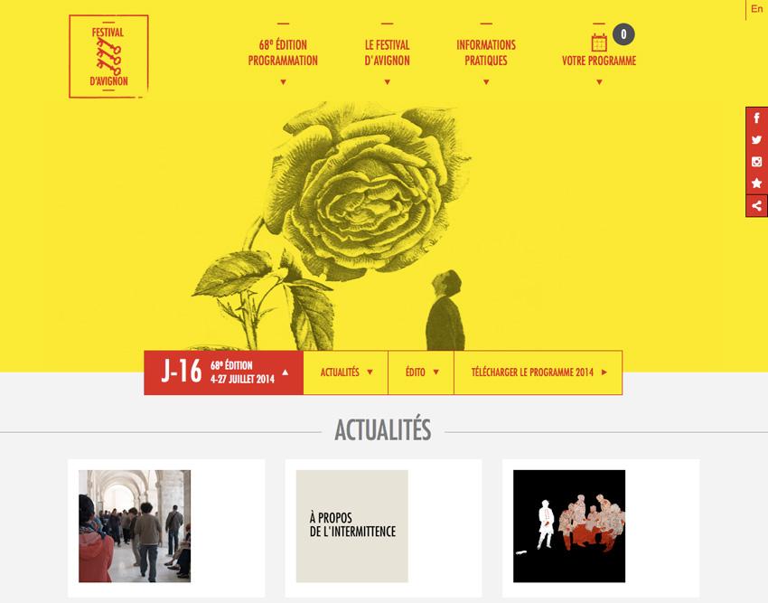 Festival d'Avignon, accueil desktop