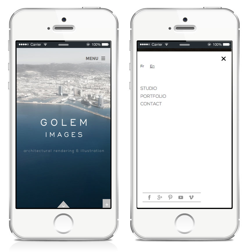version responsive du menu du site web de golem images