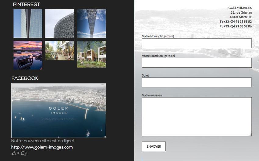 capture ecran du site de golem images formulaire de contact et publications des réseaux sociaux