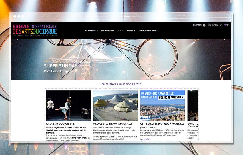 Page d'accueil de la Biennale des Arts du Cirque