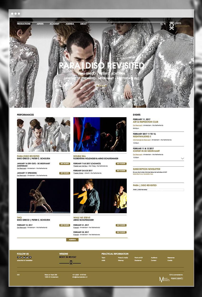 Page d'accueil du site de ICK Amsterdam