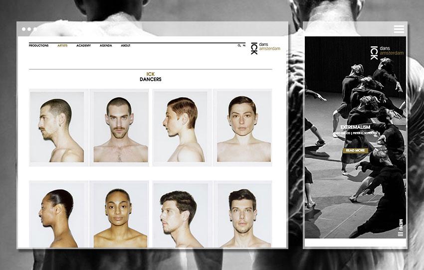 Vue Mobile et Page des danseurs, ICK Amsterdam