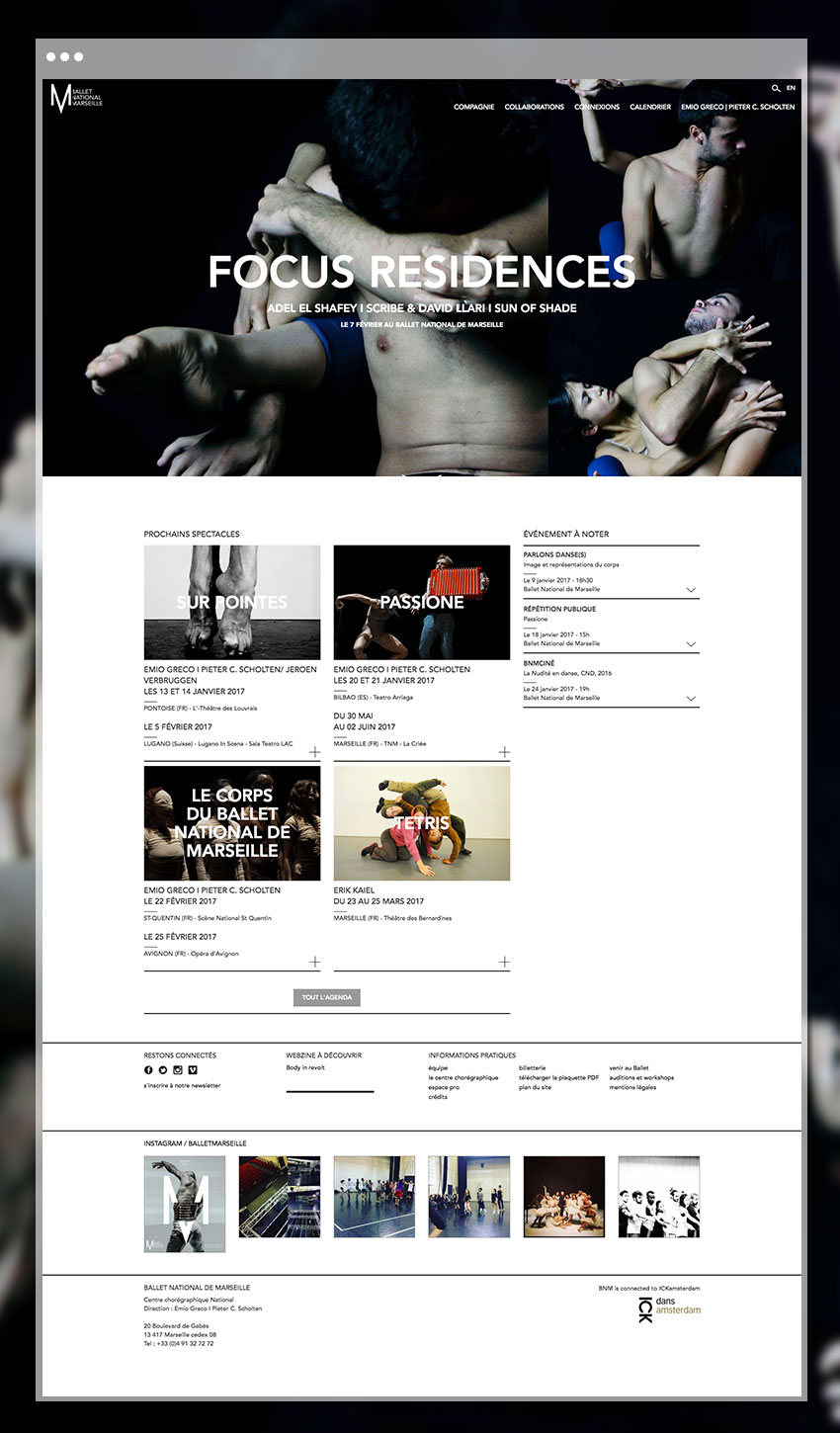 Page d'accueil du site du ballet National de Marseille