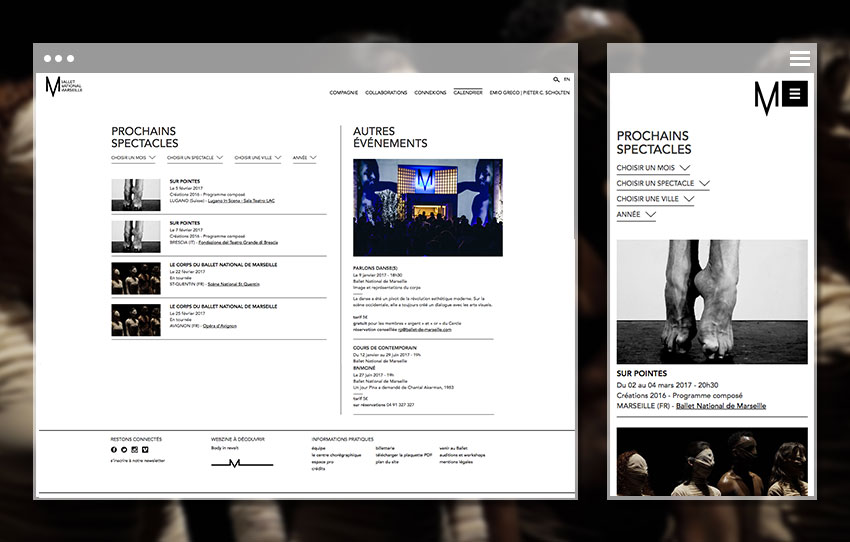 Vue mobile et page Programme du site du Ballet National de Marseille