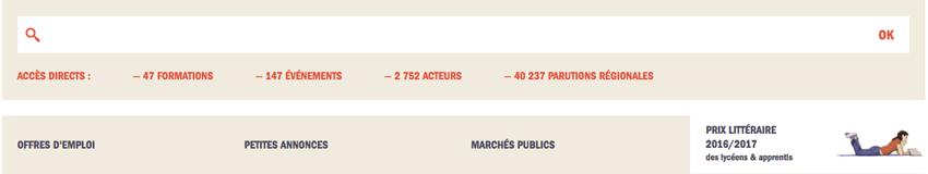 Moteur de recherche du site de l'Agence régionale du livre Paca