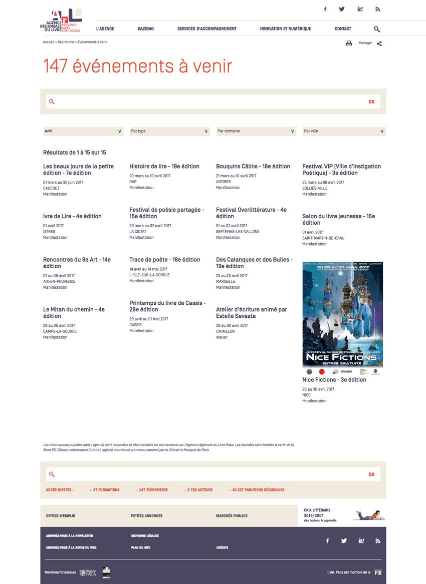 Gestion des données du site de l'Agence Régionale du Livre Paca