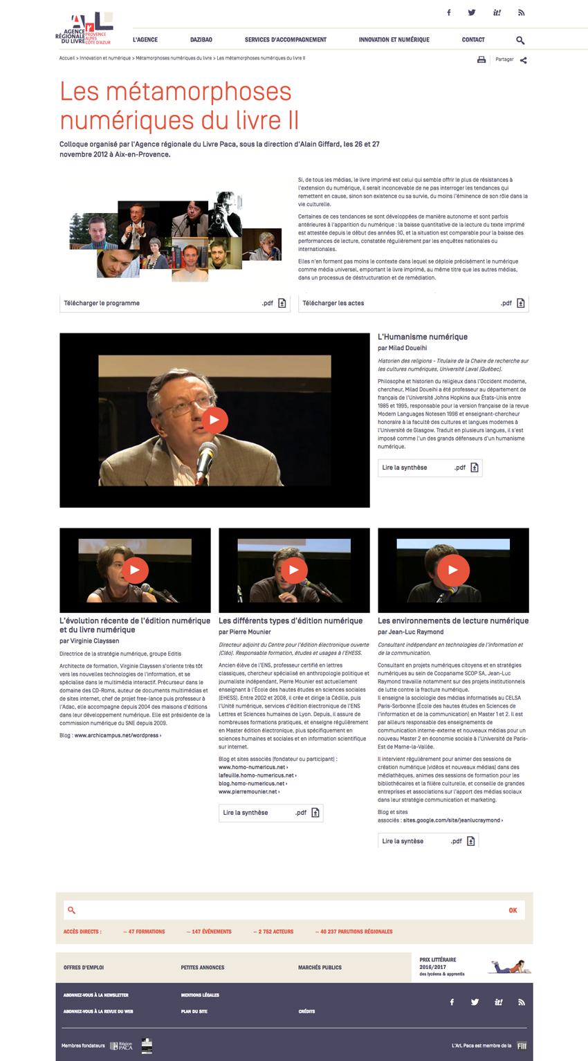 Gestion des vidéos site de l'Agence Régionale du Livre