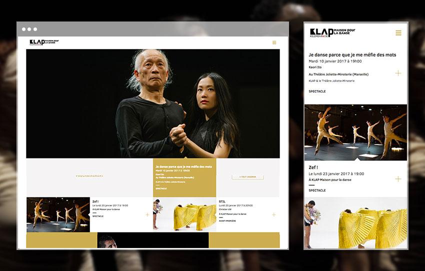 apage d'accueil du site Klap – Maison pour la danse