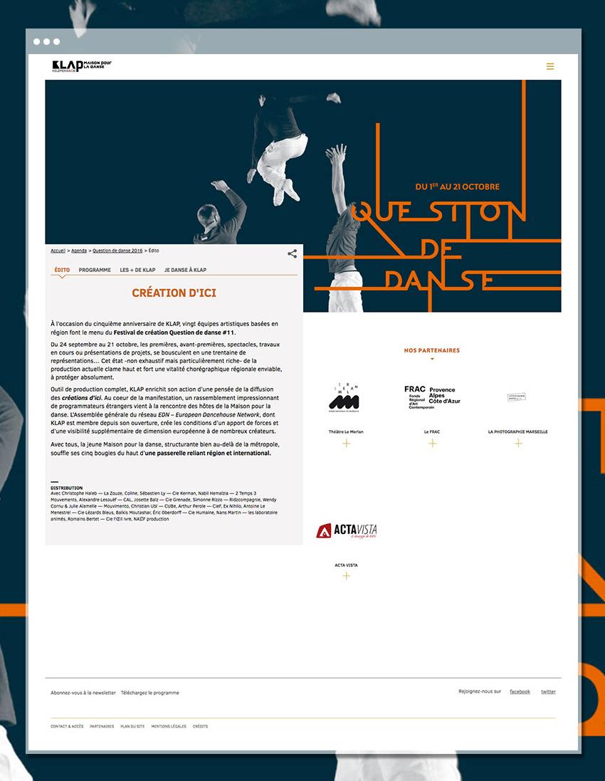 Page Festival du site de Klap - Maison pour la danse