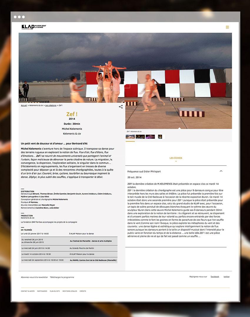 Fiche création du site Klap – Maison pour la danse