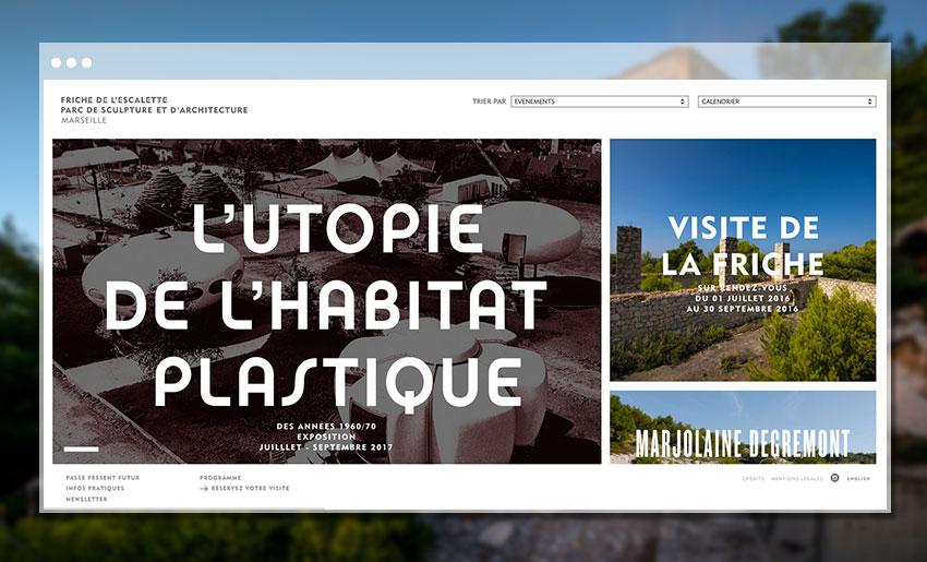 Page d'accueil du site de la Friche Escalette