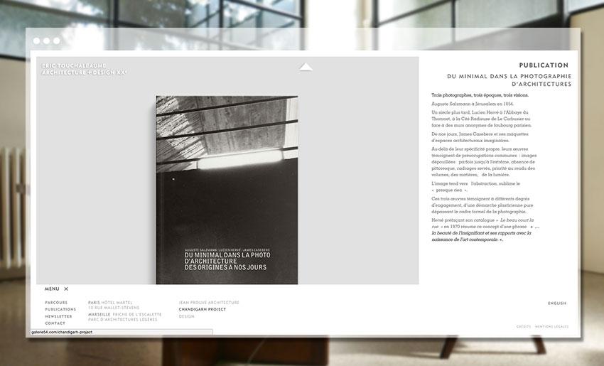 Vue d'une publication du site de la Galerie 54 - Eric Touchaleaume