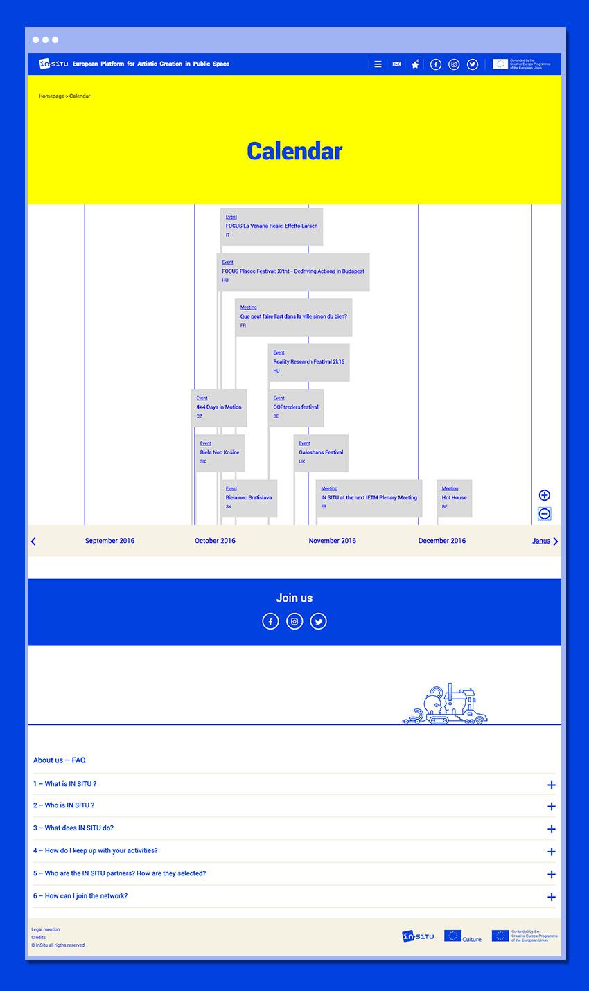 Page Calendrier du site In-Situ