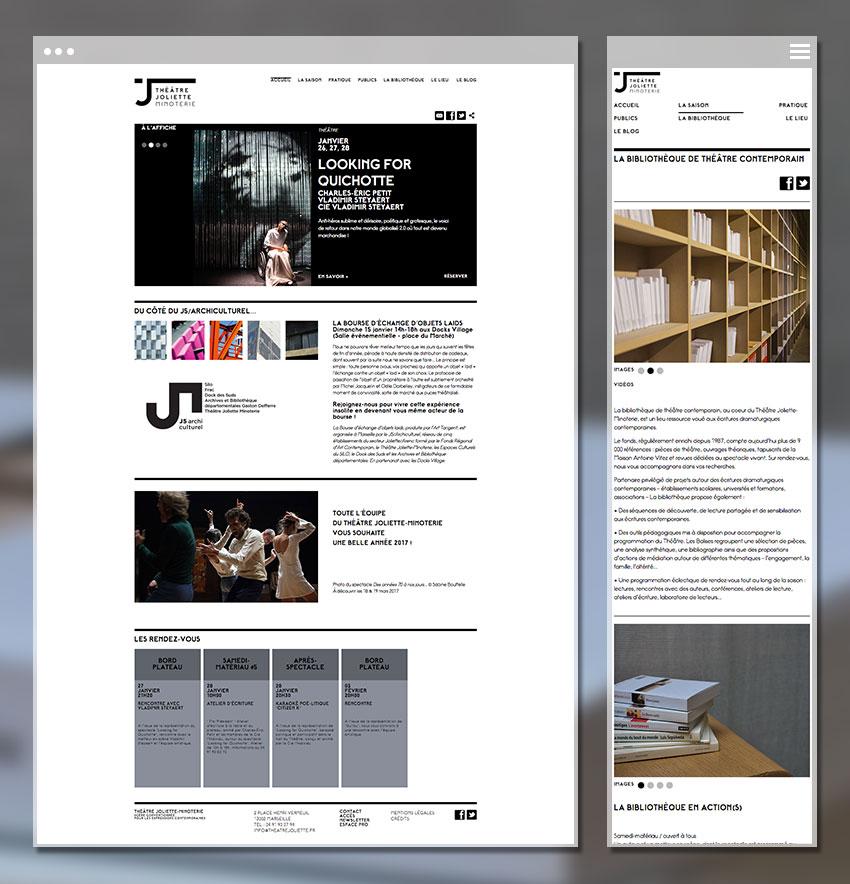 Page d'accueil du site du théâtre Joliette Minoterie - vue Desktop et Mobile
