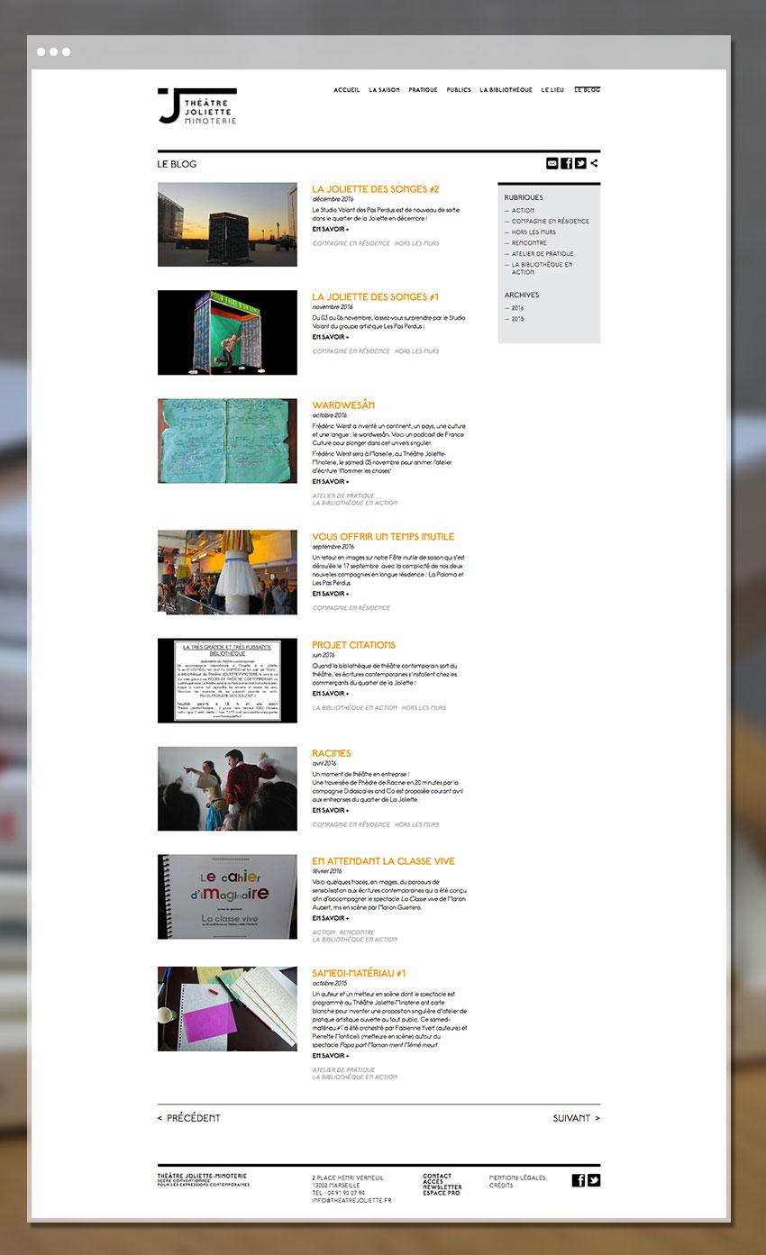 Page Bloc du site du théâtre Joliette Minoterie
