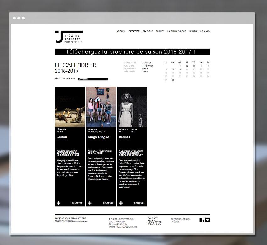 Page Calendrier du théâtre Joliette Minoterie
